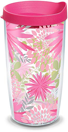 Tervis 1126536 Pink Mums Insulated Tumbler with Wrap and Fuschia Lid, 16oz, Clear ()