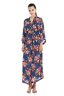 Women's Cotton Bridesmaids Robes Floral Wedding Bride Long Dressing Gown