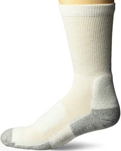 (Thorlo Men's Thin Cushion Walking Crew Sock - White/Platinum Extra Large)