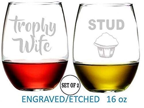 Trophy Wife Stud Muffin Stemless Wine Glasses Etched Engraved Perfect Fun Handmade Gifts for Everyone Set of 2 (Wife Trophy)
