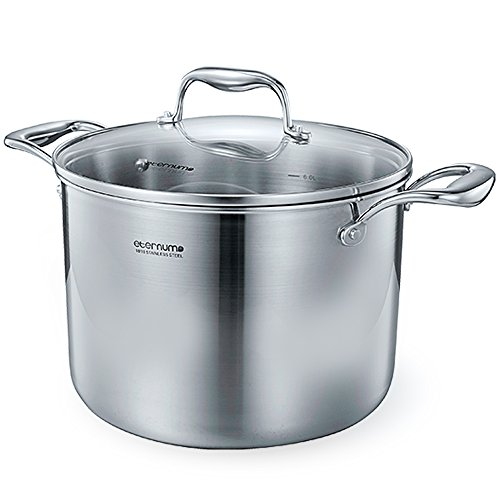 Aijchu Stainless Steel Classic Stockpot Tri-Ply with Lid 6 Quarts Silver