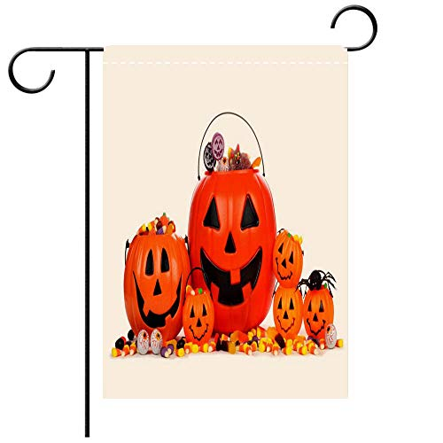 BEICICI Custom Personalized Garden Flag Outdoor Flag Assorted Halloween Jack o Lantern Candy pails Isolated on White Best for Party Yard and Home Outdoor Decor -