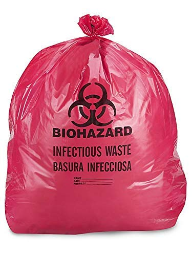 DDI IW2424 Biohazard Waste Disposable Bag, 7-10 gallon Capacity, 24 L x 24 W, 1.3 mil, Medium, Red, Pack of 100 by Diagnostics Direct, Inc.
