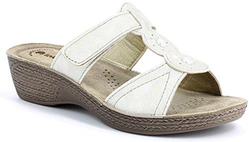 Blanco Line Art Zapatillas Mujer 12 Sandalias Gl Wellness Cuña Inblu QBWEdCerxo