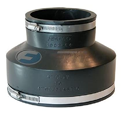 Fernco Inc  GIDDS-301131 P1002-64 Cast Iron Or Plastic Coupling, 6-Inch  Clay to 4-Inch, Black