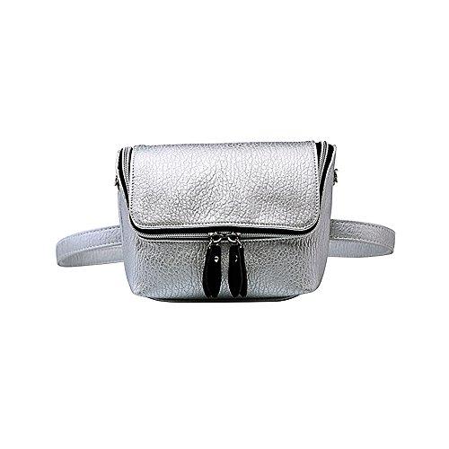Badiya Women Leather Waist Packs Causal Belt Bag Shoulder Bag Lichee Pattern Mother's Day Gift by Badiya