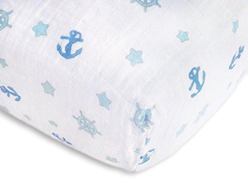 SwaddleDesigns Cotton Muslin Crib Sheet, Pastel Blue Nautical Ahoy!