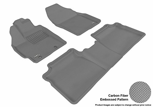 3D MAXpider Complete Set Custom Fit All-Weather Floor Mat for Select Toyota Prius Models - Kagu Rubber (Gray)