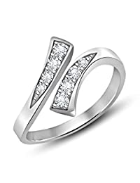 Silvernshine Jewels D/VVS1 Diamond Bypass Fashion Adjustable Toe Ring 14k White Gold Fn 925 Sterling