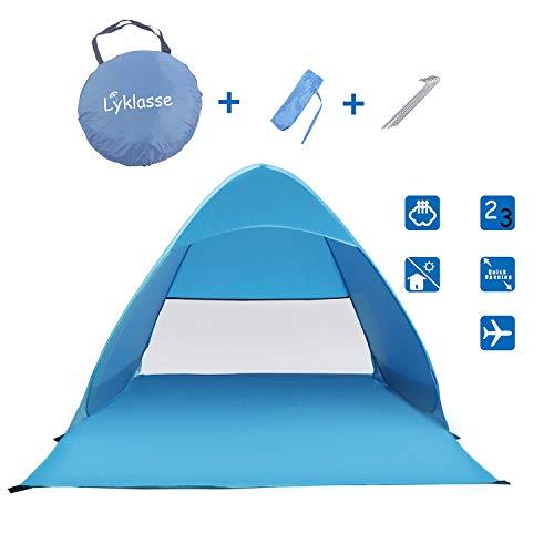 Lyklasse Pop up Beach Tent,Automatic Sun Shelter Portable Sun Umbrella 3-4 Person Anti UV Sun Shelter Tents SPF 50