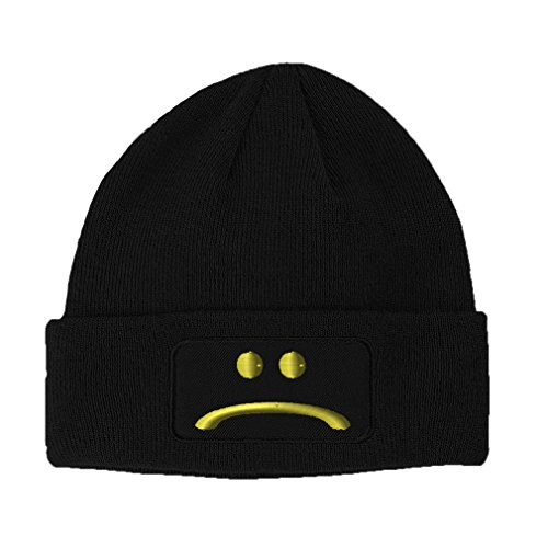 Sad Face Embroidery Design Double Layer Acrylic Patch Beanie Black