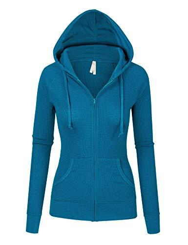 eal Blue Thermal Zip Up Casual Hoodie Jacket (8035_Teal Blue_S) ()