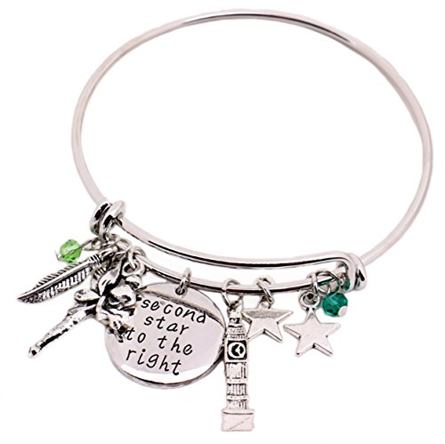 Peter Pan Message Expandable Silver Bracelet Bangle