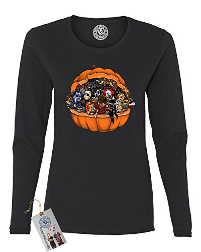 Scary Women Characters (Pumpkin Halloween Scary Characters Womens Long Sleeve T Shirt Black Medium)