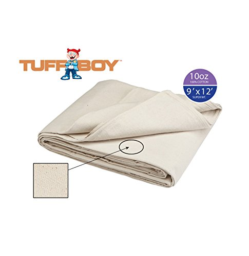 TUFFBOY 10 OZ. Super Weight Cotton Canvas All Purpose Drop Cloth 9Ft. X 12Ft.