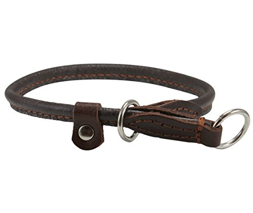 Round Genuine Rolled Leather Choke Dog Collar Brown (20