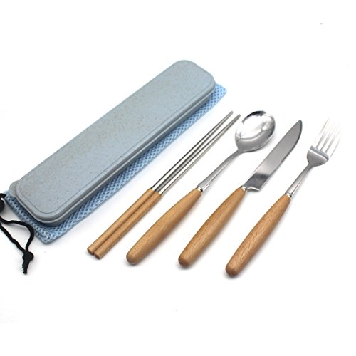 Fork Spoon Knife Chopsticks Set, Rerii Stainless Steel & Wood Cutlery Set, Portable Flatware Set, Travel Utensils Set with Carrying Case, Bag for Work, Outdoor Travel by Rerii