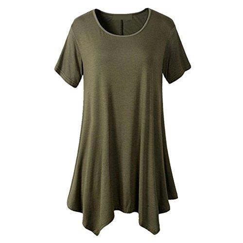 発症スタジオ吸収剤HUYBなつ 女性 ラウンドネック 半袖 不規則な裾 Tシャツ ロングトップス ソリッドカラー 6色  日常用  レディーズ