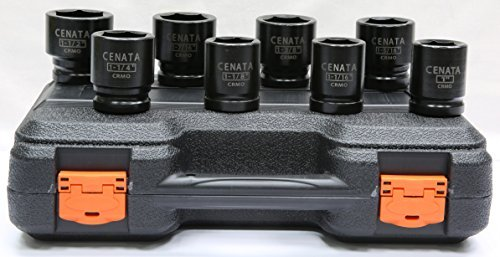 CENATA YM8049 RIGID 8-Piece 3/4 Inch Drive 6-Point STANDARD SAE CHROME-MOLY Heavy Duty Impact Socket Set Features High Visibility Laser-Etched Markings, Black Phosphate Finish, Meet or Exceed ANSI Standards, Package ()