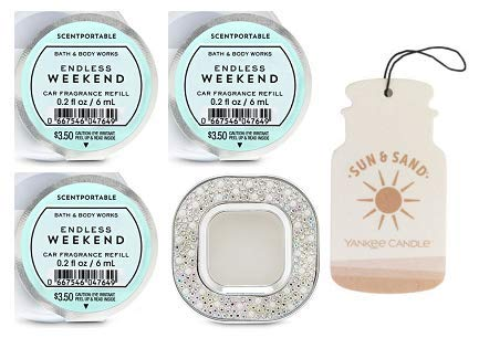 Bath and Body Works Glitter Square Vent Clip Car Fragrance Holder and 3 Scentportable Endless Weekend. Paperboard Car Fragrance Sun & Sand. ()