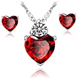 Caratcube Bright Red Austrian Crystal Heart Shape Pendant Set With Earrings For Women (CTC - 17)