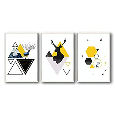 Deer And Colorful Shapes - 3 Panel Framed Canvas