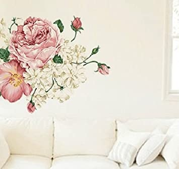 SHABBY CHIC REMOVABLE WALL STICKER VINTAGE BEDROOM LOUNGE FLORAL ROSE MURAL Part 5
