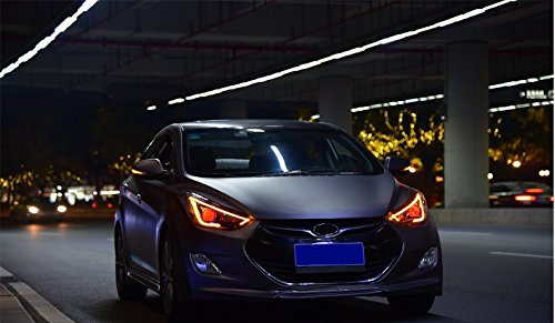 GOWE Car Styling For 2012-2017 Hyundai Elantra Headlights MD LED Headlight DRL Bi Xenon Lens High Low Beam Parking Fog Lamp Color Temperature:5000k;Wattage:55w 1