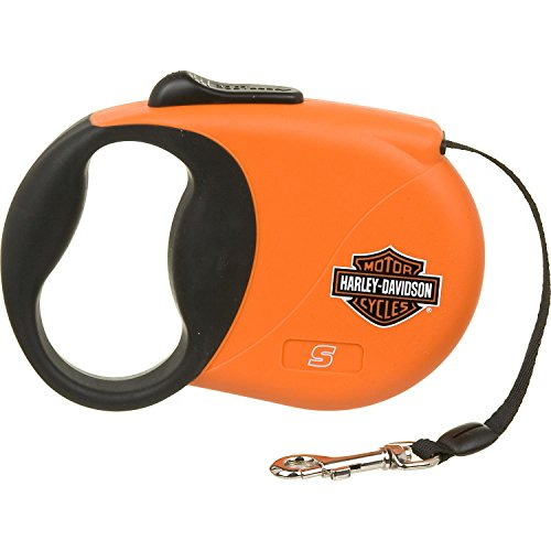 Harley-Davidson 16' Retractable Lead, Small, Color:Orange