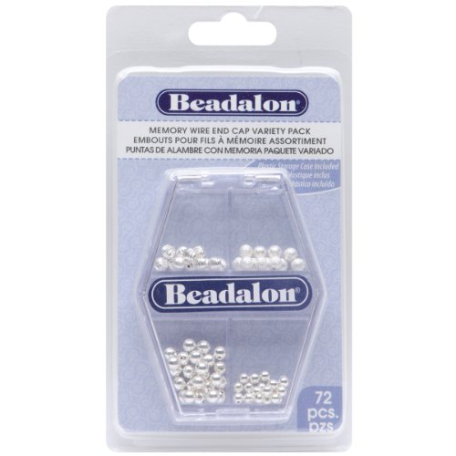 Beadalon 317B-310 Memory Wire End Cap, Variety Pack, 72-Piece