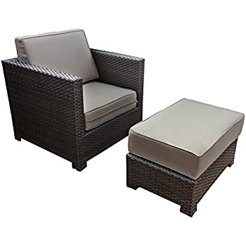 Amazon Com Abba Patio Chair And Ottoman Set With Cushions