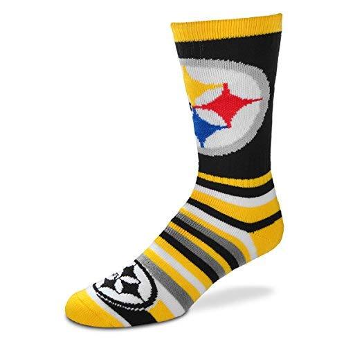 (For Bare Feet Lotta-Stripe Men's NFL Crew Socks - Pittsburgh Steelers (Medium))