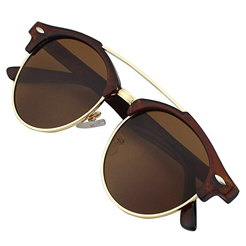 GQUEEN Dapper Fashion Brow Crossbar Polarized Sunglasses Brand Designer - Bar Sunglasses Brow