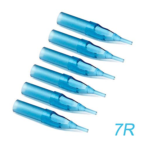 (Tattoo Tips 7RL, Youzone 100pcs 7 Round Tips Blue Plastic Disposable Tattoo Tips for 1207RL, 1207RS Tattoo Needles (7RT))