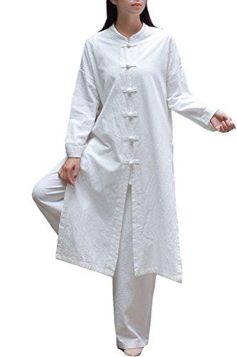 Soojun Women's Retro Chinese Frog Botton Cotton Linen Coat, White