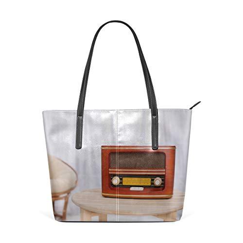 (Laptop Tote Bag Old Radio And Headphones On Table Large Printed Shoulder Bags Handbag Pu Leather Top Handle Satchel Purse Lightweight Work Tote Bag For Women Girls)