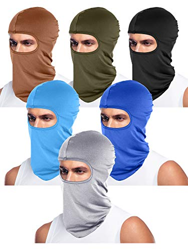 Tatuo 6 Pieces Unisex Balaclava Full Face Mask Winter Windproof Ski Mask (Black, Blue, Army Green, Light Grey, Sky Blue, Brown)