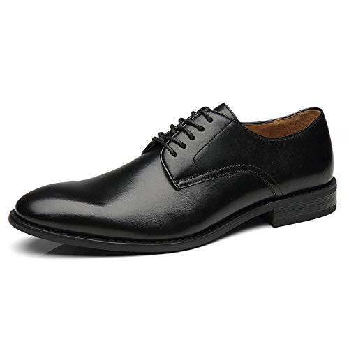 La Milano Men Dress Shoes Lace up Oxford Classic Plain Toe Modern Formal Shoes for (Dress Leather Oxford Shoes)