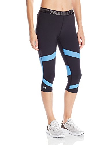 """Under Armour Women's HeatGear CoolSwitch 15"""" Capri, Black/Water, Large"""