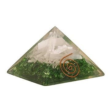 Energy Generator Selenite and Peridot Orgone Pyramid EMF Protection Healing Crystal