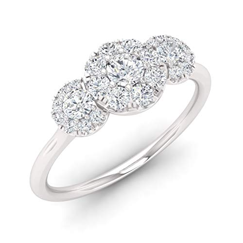 Diamondere Natural and Certified Diamond Engagement Ring in 14K White Gold | 0.50 Carat Three Cluster Engagement Ring for Women, US Size 6