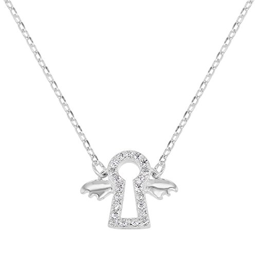 925 Sterling Silver Clear CZ Guardian Angel Necklace Baby Kids 16