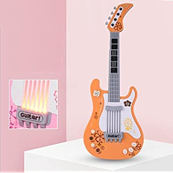 Easyflower Wonderful Musical Instruments Toy Multifunctional Childrens Simulation Gourd Heart Four Strings Bass Guitar Instrument(Orange)