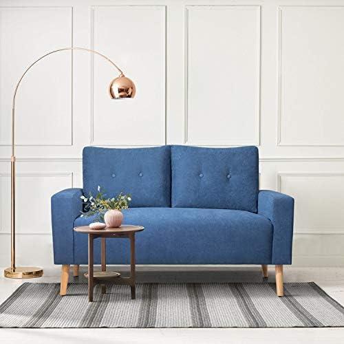 GUNJI Soft Cloth Loveseat Sofa Loveseat Couch 2-Seat Sofa with Armrest Blue