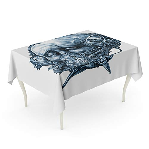 (Semtomn Decorative Tablecloth Waterproof Printed Polyester Water Resistant Oil-Proof Fantastic Character in Helmet Gas Mask Cyberpunk Steampunk Space Pilot Sci Fi Rectangle Table Cloth 60 x 90)