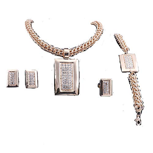 WANG Dubai Crystal African Beads Jewelry Set Necklace Earring Bracelet Ring