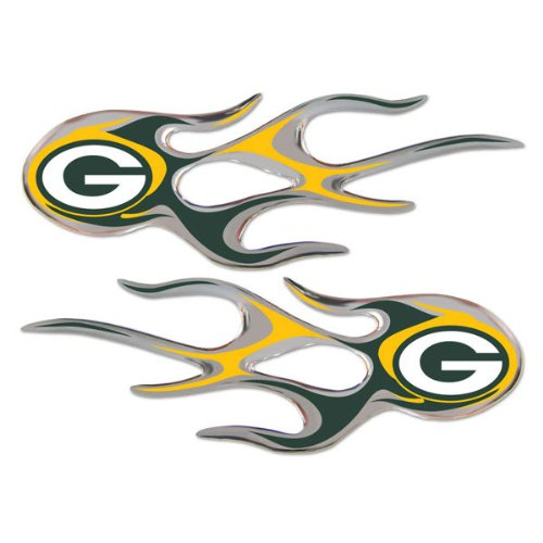 Green Bay Packers 2-pack Micro Flames Flame Auto Home Emblem Decal GB (Green Bay Packers Auto Emblem)