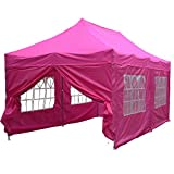 10'x20′ Pop up Canopy Wedding Party Tent Instant EZ Canopy Pink – F Model Commercial Grade Frame By DELTA For Sale