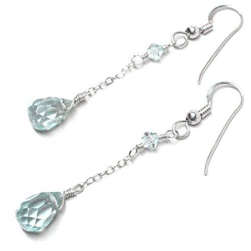Lab Grown Aqua Quartz 10x6 Briolette Earrings Chain Dangle Sterling Silver