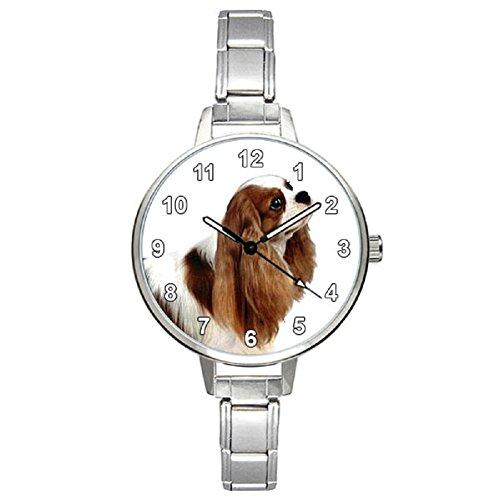 (Cavalier King Charles Spaniel Ladies Stainless Steel Italian Charms Bracelet Watch)
